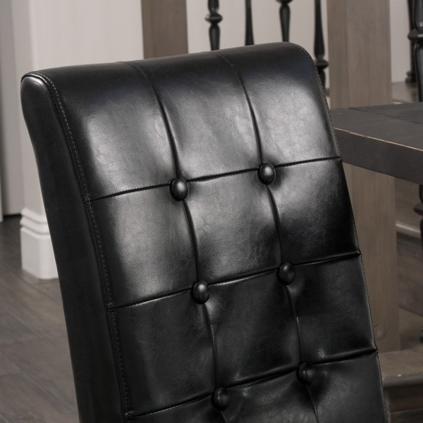 Roland Black Leather Dining Chairs (Set Of 2) By Christopher Knight Home    Free Shipping Today   Overstock.com   15704071