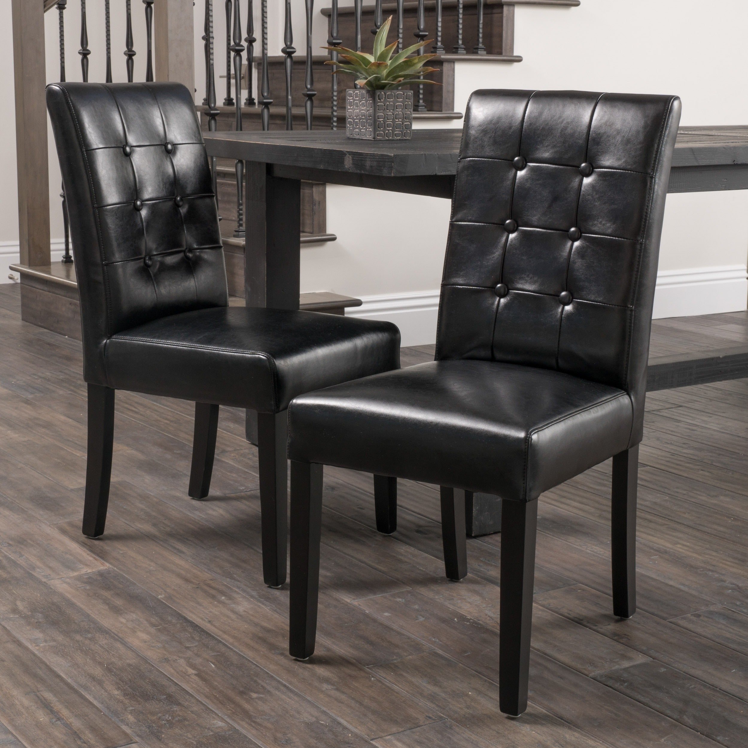 Amazing Roland Black Leather Dining Chairs Set Of 2 By Christopher Knight Home Alphanode Cool Chair Designs And Ideas Alphanodeonline