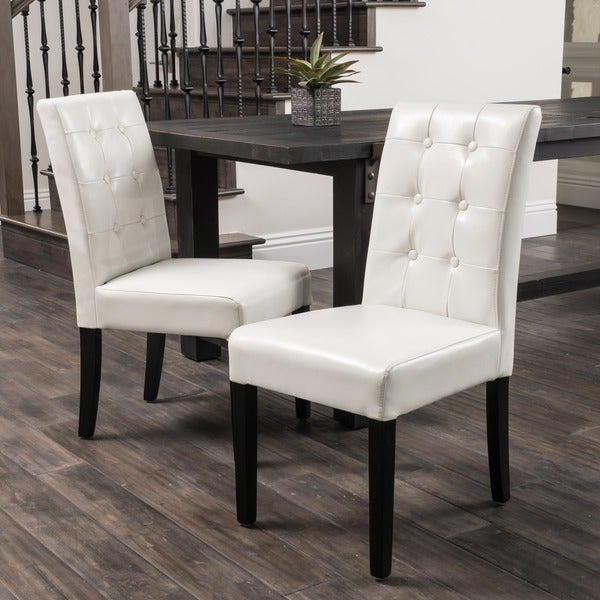 Ivory Leather Dining Room Chairs: Shop Roland Ivory Leather Dining Chairs By Christopher Knight Home (Set Of 2)