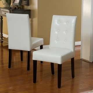 Roland Ivory Leather Dining Chairs by Christopher Knight Home (Set of 2)