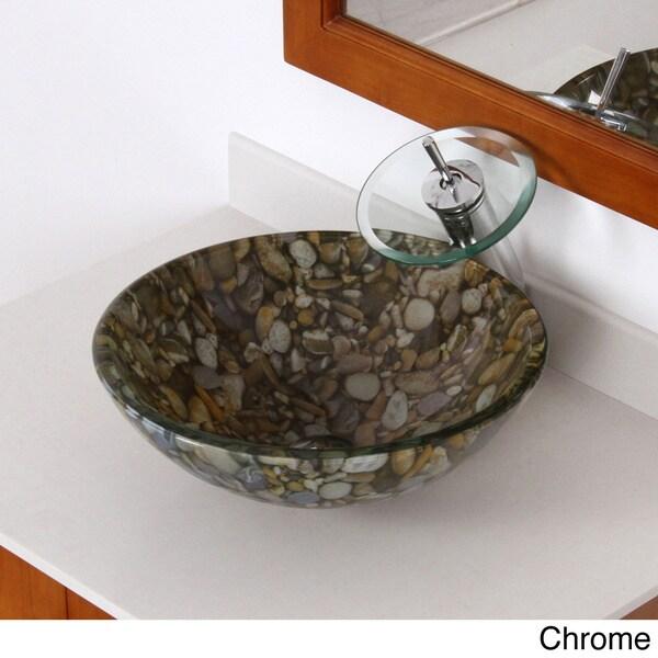 Shop Elite Sea Rocks Double Layer Glass Bowl Bathroom Vessel Sink - Rocks in bathroom sink