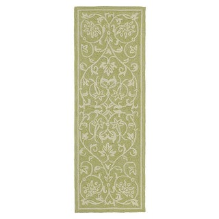 Fiesta Avocado Indoor/ Outdoor Scroll Rug (2'0 x 6'0)