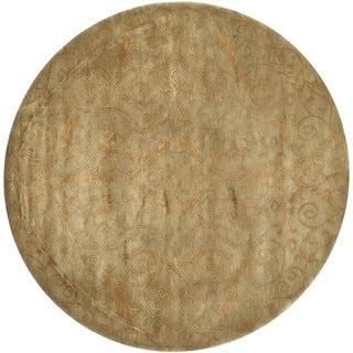 Safavieh Hand-knotted Tibetan Iron Scrolls Green/ Gold Wool/ Silk Rug (6' Round)