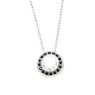 Sunstone Sterling Silver Round Drop Necklace made with Swarovski Zirconia with Gift Box