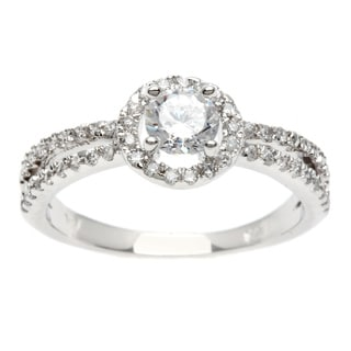 Sterling Essentials Silver Pave Cubic Zirconia Engagement-style Ring