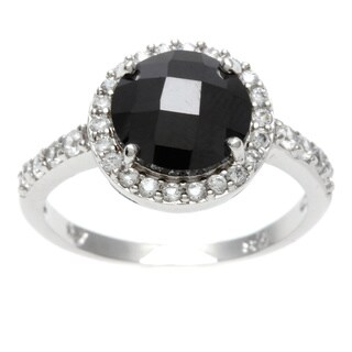 Sterling Essentials Silver Black Checkerboard and White CZ Ring