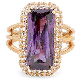 Sterling Essentials Gold Over Silver Purple Fancy Cut CZ with White Pave Cocktail Ring