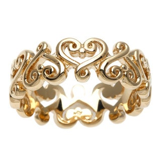 Sterling Essentials 14k Yellow Gold over Silver Renaissance Heart Ring