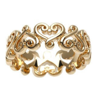 Sterling Essentials Yellow Gold Over Silver Renaissance Heart Ring