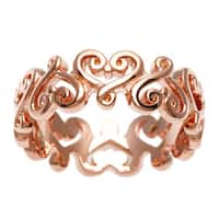 Sterling Essentials Rose Gold Over Silver Renaissance Heart Ring