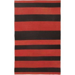 Hand-woven Bohemian Red Wool Kilim (3'3 x 5'3)