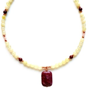 Every Morning Design Red Berry Agate Pendant and New Jade Necklace