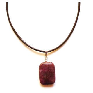 Every Morning Design Red Berry Agate and Brown Leather Necklace