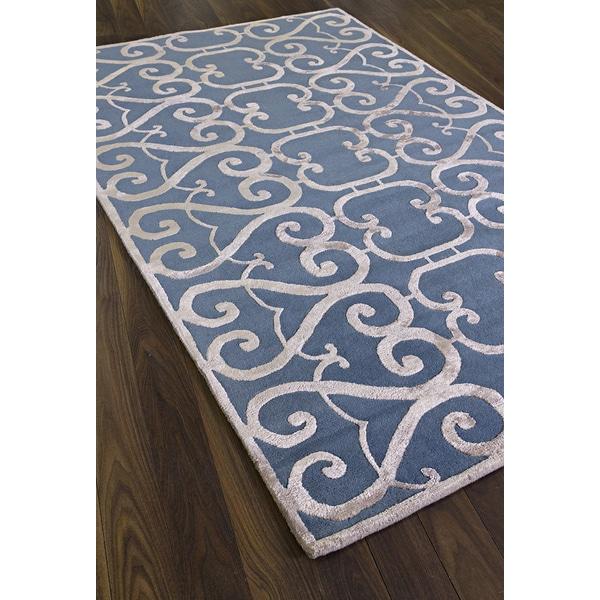 Hand-made Renaissance Blue Wool Area Rug - 5' x 8'