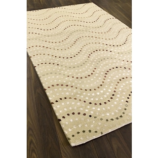 Hand-made Bijou Yellow Wool Rug (5' x 8')