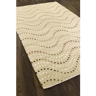 Hand-made Bijou Yellow Wool Rug (5' x 8')