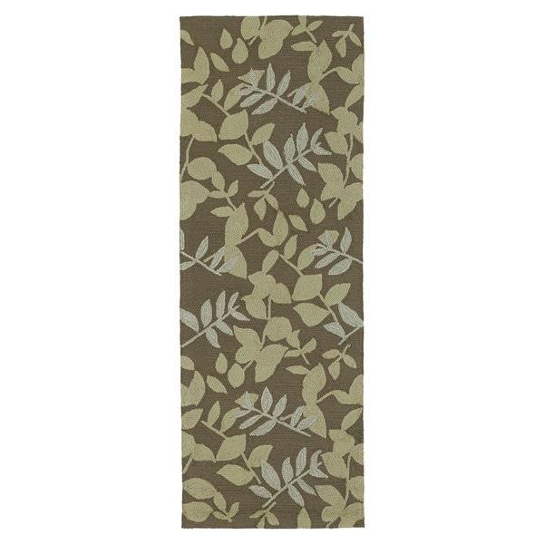 Fiesta Chocolate Indoor/ Outdoor Leaves Rug (2'0 x 6'0)