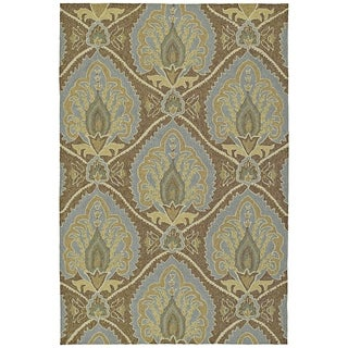 Fiesta Brown Indoor/ Outdoor Damask Rug (9'0 x 12'0) - 9' x 12'