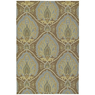 Fiesta Brown Indoor/ Outdoor Damask Rug (7'6 x 9'0)