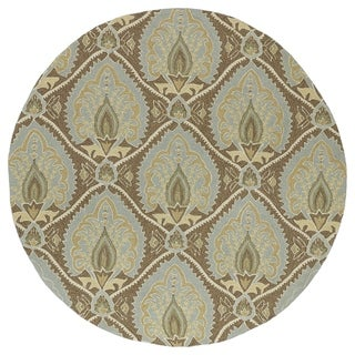 Fiesta Brown Indoor/ Outdoor Damask Rug (7'9 Round)