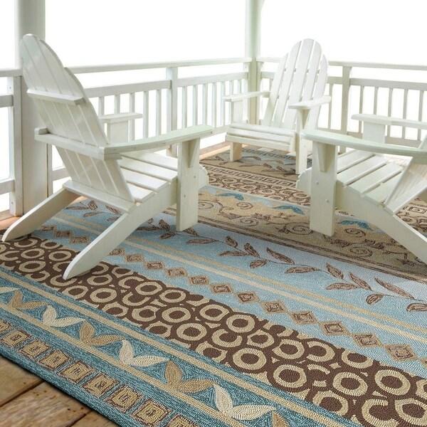 Fiesta Blue Indoor/ Outdoor Stripes Rug (5'0 x 7'6) - 5' x 7'6
