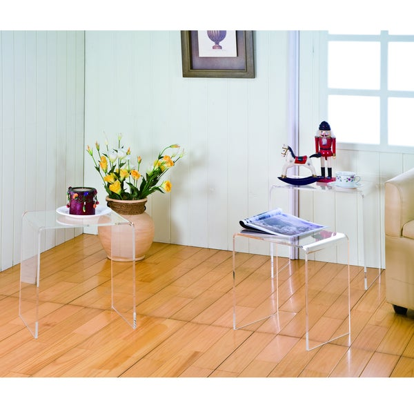 Clear Acrylic Nesting Tables (Set Of 3)   Free Shipping Today    Overstock.com   15707280