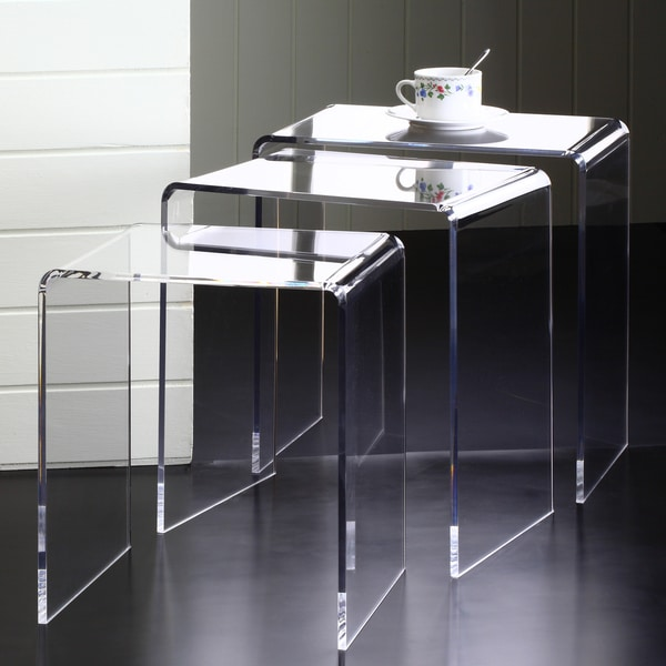 Clear acrylic square nesting tables set of 3 free for Overstock acrylic coffee table