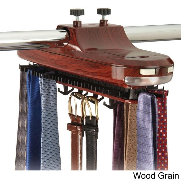 Richards Homewares Revolving Motorized Lighted Tie and Belt Rack Hooks Organizer
