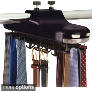 Richards Homewares Revolving Motorized Lighted Tie and Belt Rack Hooks Organizer