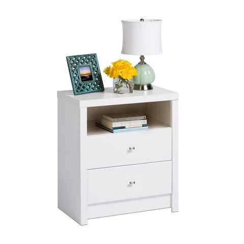 Havenside Home Keansburg Pure White Tall 2-drawer Nightstand