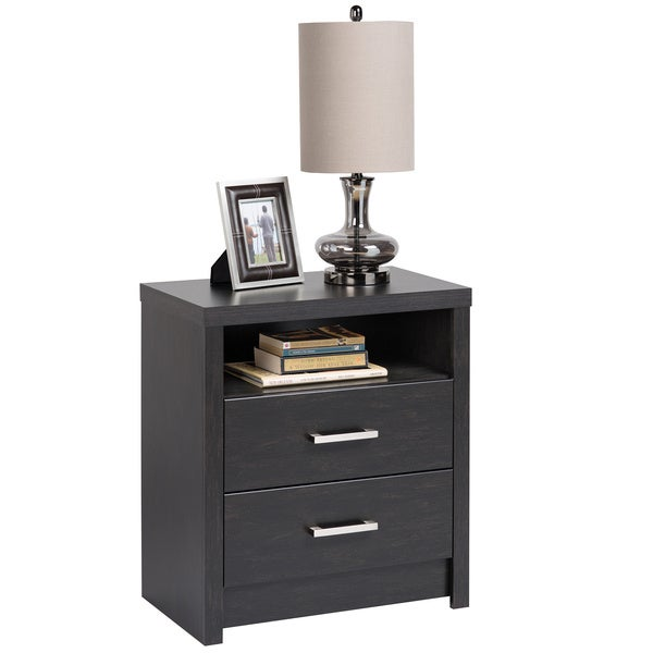 Washed black hudson tall 2 drawer nightstand free for Extra tall nightstands