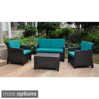 Lisbon Resin Wicker International Caravan Outdoor Settee Group With Corded Cushions Set Of 4