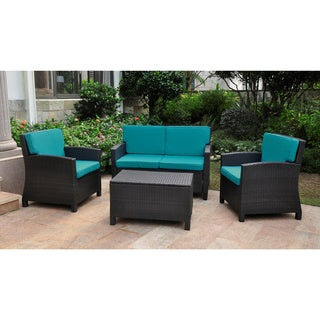 Lisbon Resin Wicker International Caravan Outdoor Settee Group with Corded Cushions (Set of 4) (Option: Red)