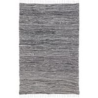 Black Reversible Chenille 8 x 10 Flat Weave Rug - 8' x 10'