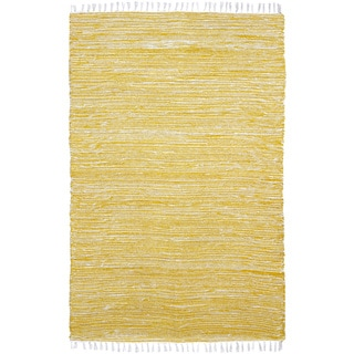 Yellow Reversible 8x10-foot Chenille Flat Weave Rug