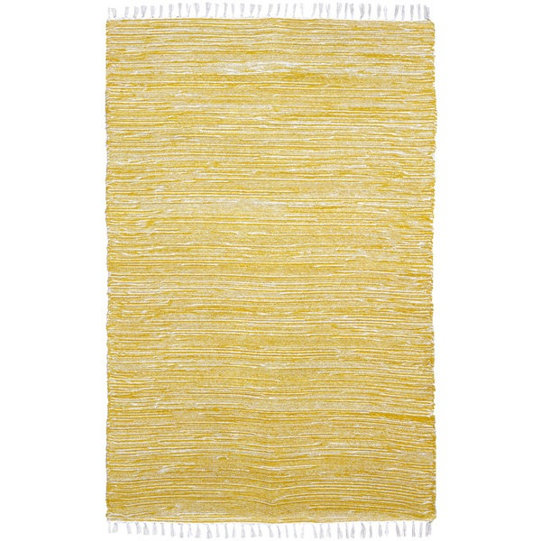 Yellow Reversible 8x10-foot Chenille Flat Weave Rug - 8' x 10'