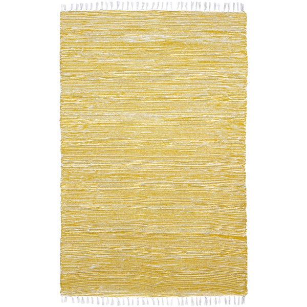 Yellow Reversible Chenille Flat Weave Rug - 8' x 10'