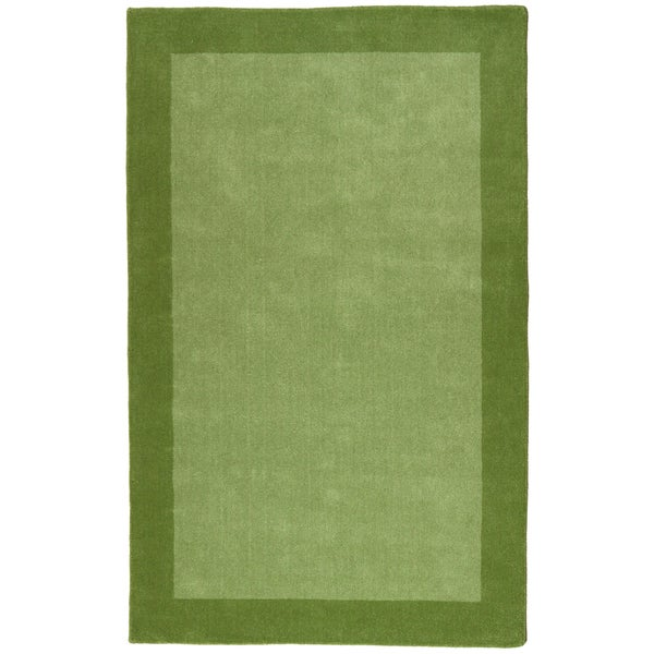 Green Border Pulse Hand Tufted Wool Rug - 5' x 8'