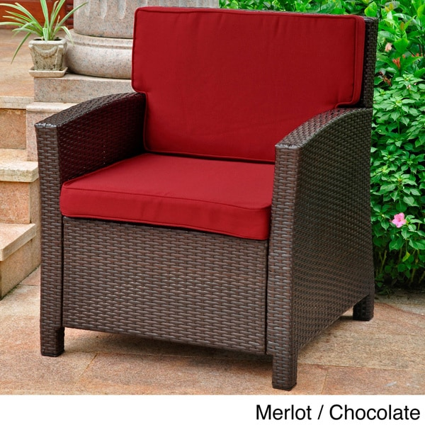 Lisbon Outdoor Resin Wicker Contemporary Chair With Corded Cushions   Free  Shipping Today   Overstock.com   15707665