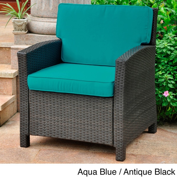 Lisbon Resin Wicker Outdoor Contemporary Chair With Cushions   Free  Shipping Today   Overstock.com   15707665