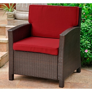 Lisbon Outdoor Resin Wicker Contemporary Chair With Corded Cushions