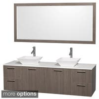 Wyndham Collection Amare Grey Oak 72-inch Double Bath Vanity and 70-inch Mirror