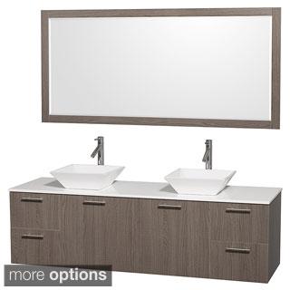 Wyndham Collection Amare Grey Oak 72-inch Double Bath Vanity and 70-inch Mirror