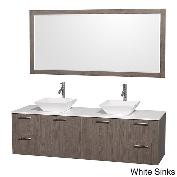Shop wyndham collection amare grey oak 72 inch double bath vanity and 70 inch mirror free for 70 inch bathroom double vanity