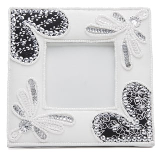 Handmade Beaded Fabric Picture Frame (India)