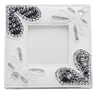 Handmade White Embroidered and Beaded Picture Frame (India)