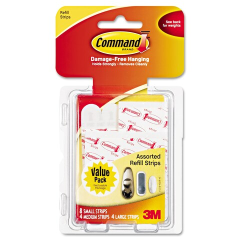 Command Assorted Refill Strips White 16 Strips/Pack