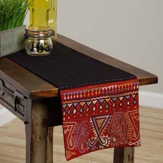 Handmade Rabari Black and Red Geometric Cotton Table Runner (India)
