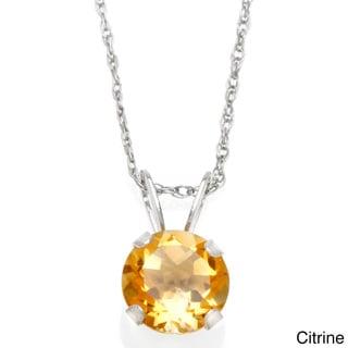 10k White Gold 6-mm Round Gemstone Pendant
