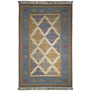 Hand-woven Flatweave Royal Jute and Wool Rug (5' x 8') - 5' x 8'
